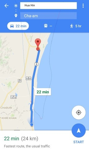 Hua Hin to Cha Am via Minivan Map